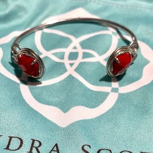 Red Kendra Scott Cuff Bracelet Silver w/ Red Stone